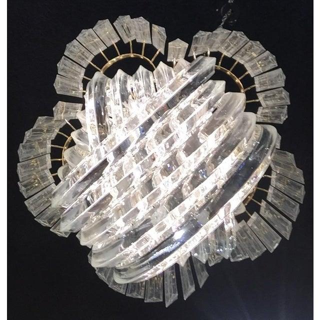 Image of Vintage 1970s Lucite Ribbon Drop Chandelier