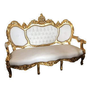 White Leather Tufted Throne Sofa