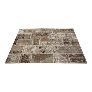 Vintage Turkish Overdyed Patchwork Oushak Rug - 6′7″ × 10′1″