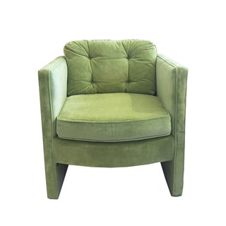 Seafoam Mid Century Tufted Velvet Chair
