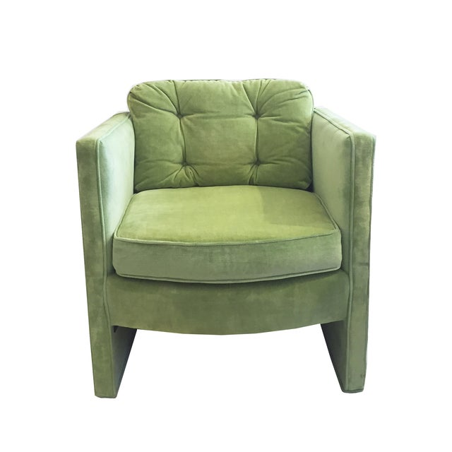 Image of Seafoam Mid Century Tufted Velvet Chair