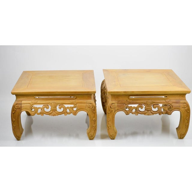 Image of Carved, Stripped Wood Asian Low Tables - a Pair