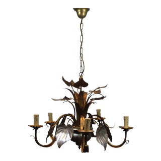 Italian Gilded Floral Tole Chandelier
