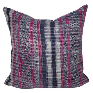 Vintage Embroidered Indigo Batik Pillow