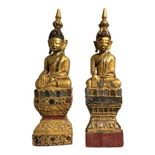 Pair of Shan Burmese Gilt Wood Buddhas, early 20th century