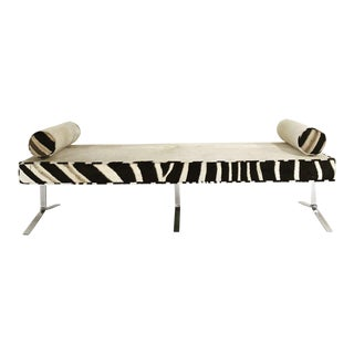Modern Chrome Bench in Ivory Cowhide & Zebra Hide