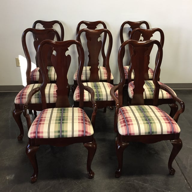 Cherry Queen Anne Dining Chairs - Set Of 8