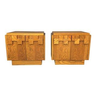 "Lane Brutalist ""Mosaic"" Pattern Oak Nightstands/End Tables - A Pair"
