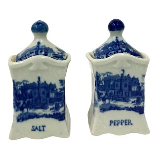 Vintage Ceramic Transferware Flow Blue Lidded Salt & Pepper Jars - A Pair