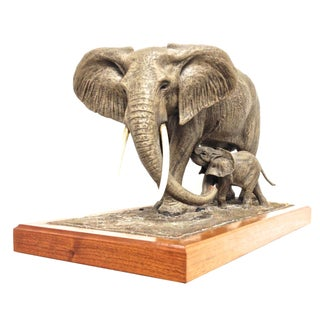 Elephant & Baby Sculpture Signed 105/300