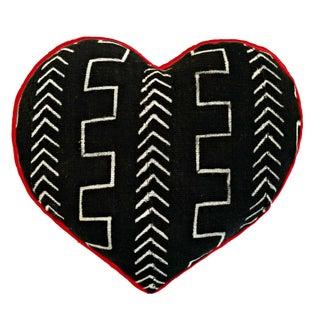 Mud Cloth Wax Print Heart Shaped Pillow