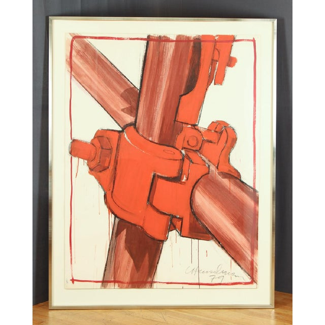 1979 Signed and Framed Caspear Henselmann, the Clamp Drawing - Image 2 of 5