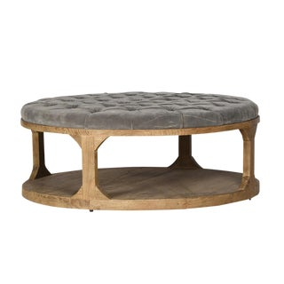 Grey Velvet Upholstered Coffee Table