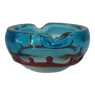 Blue & Red Murano Glass Bowl