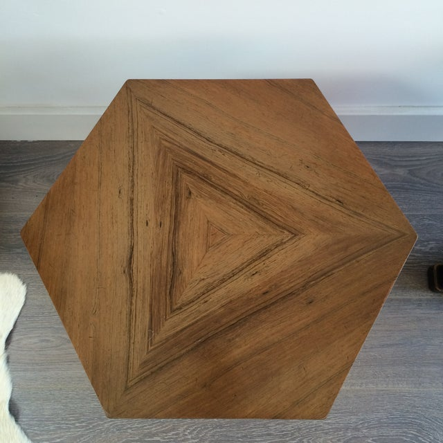 Henredon Hexagonal Walut Side Tables - A Pair - Image 7 of 11