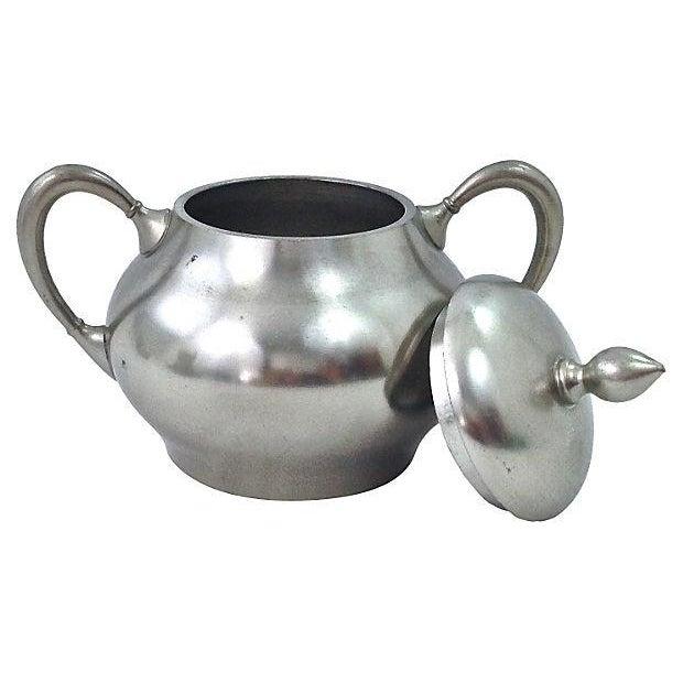 Image of Pewter Teapot Sugar And Creamer - Set of 3