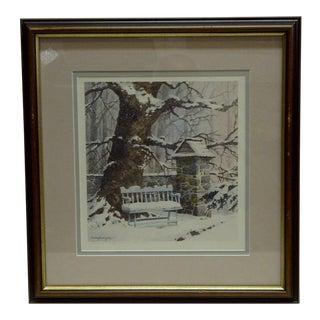 """Framed Richard Bollinger """"Winters Rest"""" Print"""