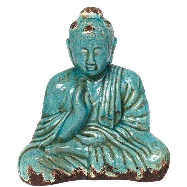 Turquoise Sitting Buddha Statue - Image 1 of 8