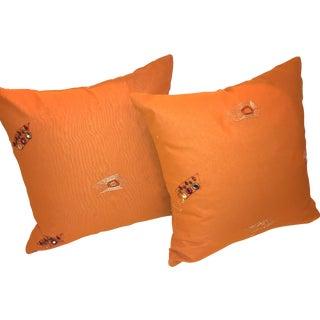 Orange Pillows with Modern Appliqués - Pair