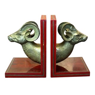 Vintage Rosewood & Brass Ram Bookends - A Pair