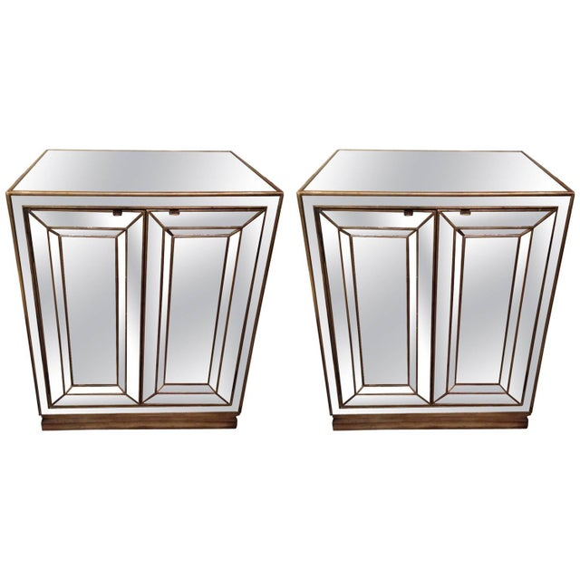 Antiqued Mirrored Cabinets - A Pair - Image 1 of 4