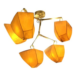 Andrea Claire Porcelain and Brass Chandelier