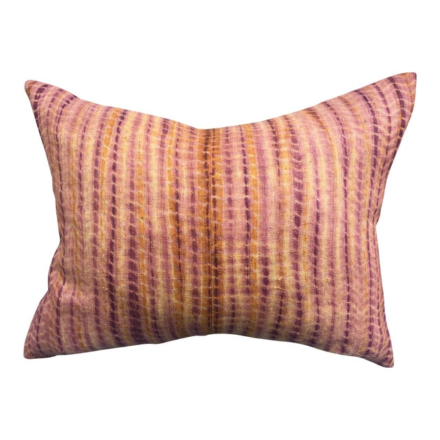 Burmese Hand Batik Linen Pillow - Image 1 of 7