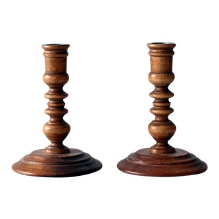 Vintage Turned Wood Candle Holders - A Pair