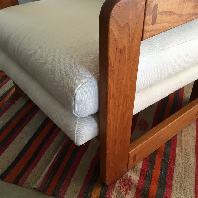 Vintage Wood and Linen Armchair - Image 10 of 11