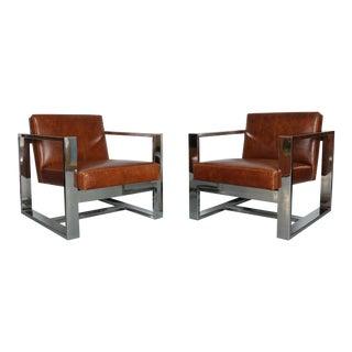 Milo Baughman Chrome Lounge Chairs