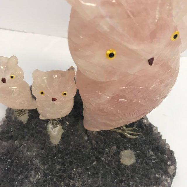 Vintage Hand Carved Rose Quartz & Amethyst Crystal Owl Statues - Set of 4 - Image 2 of 5