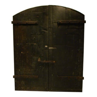 Industrial Wooden Factory Arch Top Doors - a Pair
