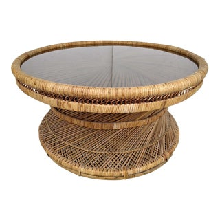 Vintage Round Woven Rattan Cocktail Table