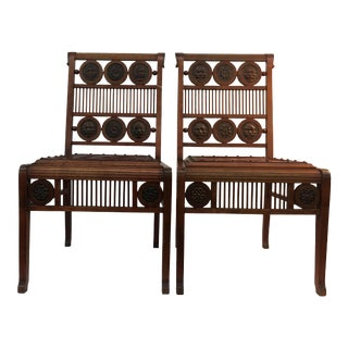 Swedish Leather Embossed Side Chairs - A Pair