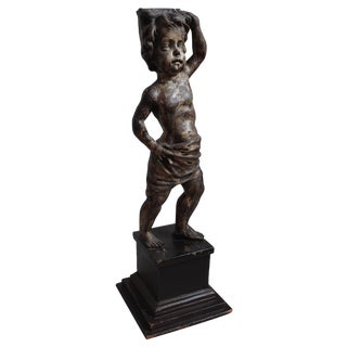 18th Century Carved Wood & Gesso Putto