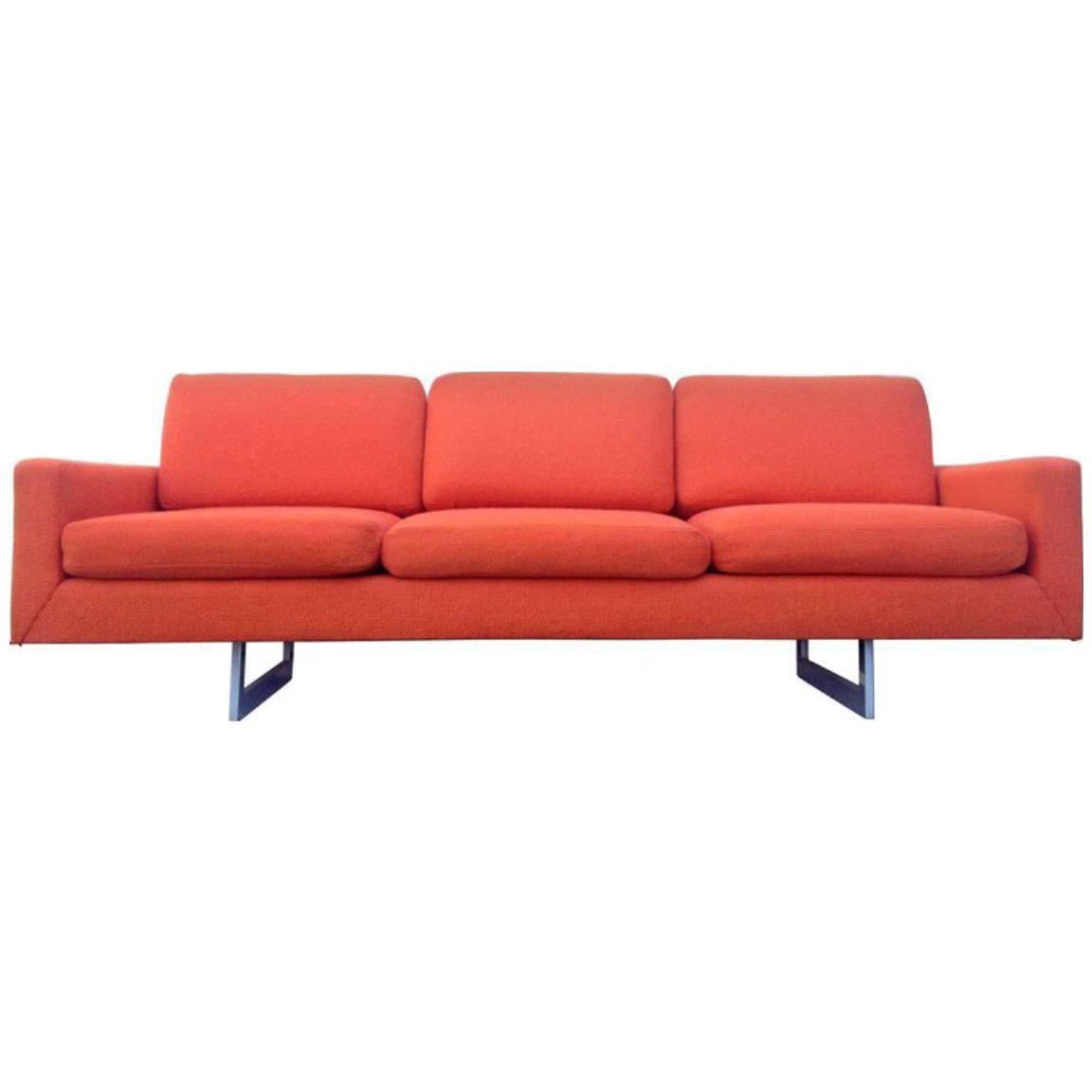 Bright Orange Architectural Mid Century Modern Sofa