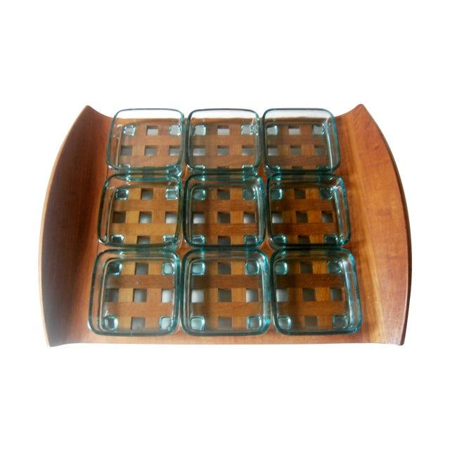 Dansk Teak Lattice Tray With Glass Dish Inserts - Image 1 of 6