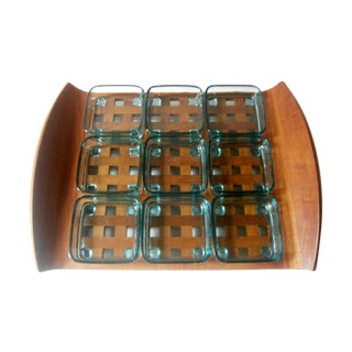 Dansk Teak Lattice Tray With Glass Dish Inserts