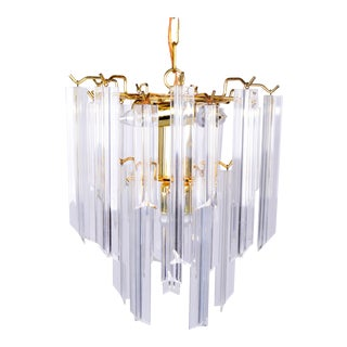 Brass & Lucite Chandelier with Canopy