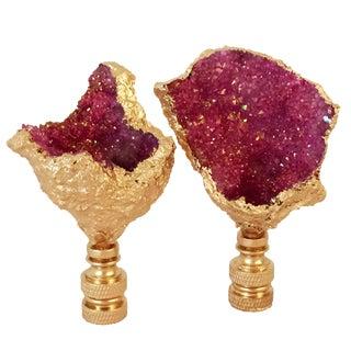 Dyed Pink Geode & Gold Gilt Lamp Finials - A Pair