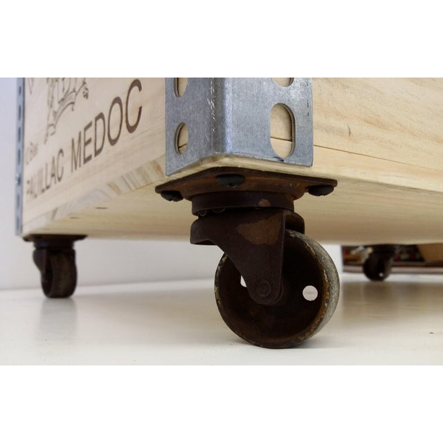 French Wine Box Industrial Bar Cart - Image 10 of 11