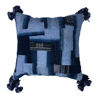 Indigo Patckworked Pillow w/Stitching