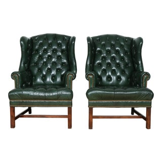 Schafer & Bros Green Highback Chairs - a Pair