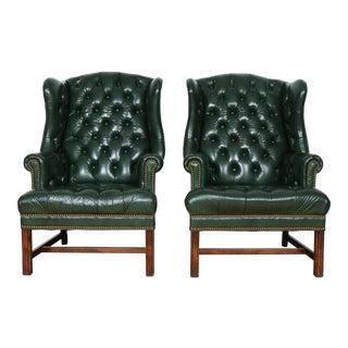 Schafer & Bros Green Highback Chairs - a Pair