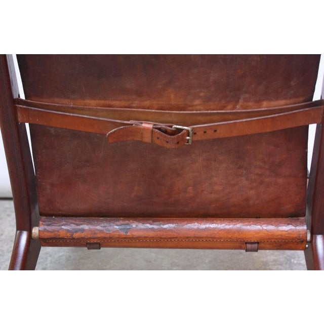 Image of Swedish Teak and Leather Hunting Chair Model #204 by Uno and Östen Kristiansson