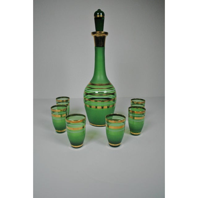 1960's Green Glass Bohemian Decanter Set - Image 6 of 6