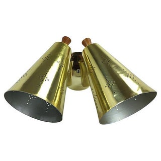 Atomic Mid-Century Double Gold Sconce