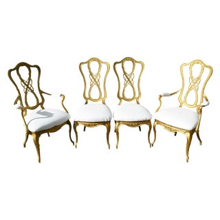 Hollywood Regency Kessler Gold Dining Chairs - S/4