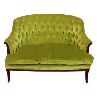 Green Chartreuse Velvet Button Tufted Chesterfield Settee