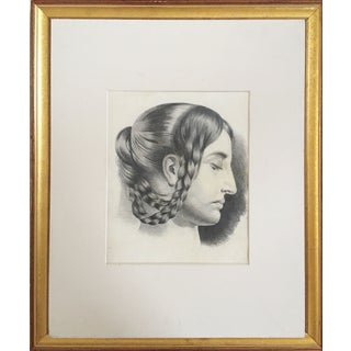 Antique French Master Drawing of Woman in Braids